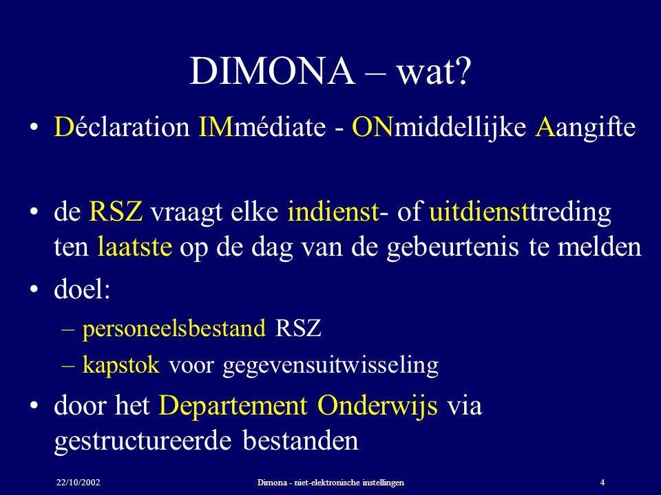 22/10/2002Dimona - niet-elektronische instellingen4 DIMONA – wat? Déclaration IMmédiate - ONmiddellijke Aangifte de RSZ vraagt elke indienst- of uitdi