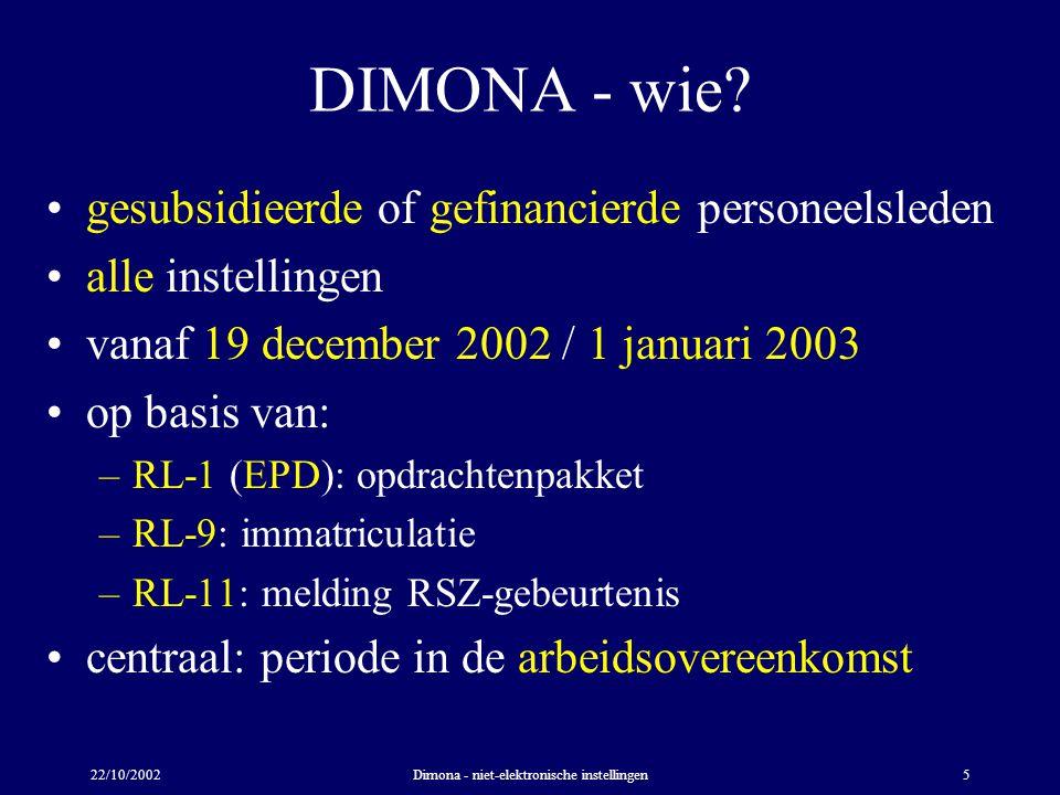 22/10/2002Dimona - niet-elektronische instellingen5 DIMONA - wie? gesubsidieerde of gefinancierde personeelsleden alle instellingen vanaf 19 december