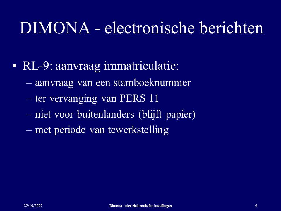 22/10/2002Dimona - niet-elektronische instellingen9 DIMONA - electronische berichten RL-9: aanvraag immatriculatie: –aanvraag van een stamboeknummer –ter vervanging van PERS 11 –niet voor buitenlanders (blijft papier) –met periode van tewerkstelling