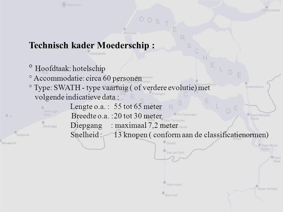 Technisch kader Moederschip : ° Hoofdtaak: hotelschip ° Accommodatie: circa 60 personen ° Type: SWATH - type vaartuig ( of verdere evolutie) met volgende indicatieve data : Lengte o.a.