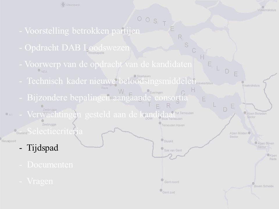 - Voorstelling betrokken partijen - Opdracht DAB Loodswezen - Voorwerp van de opdracht van de kandidaten - Technisch kader nieuwe beloodsingsmiddelen - Bijzondere bepalingen aangaande consortia - Verwachtingen gesteld aan de kandidaat - Selectiecriteria - Tijdspad - Documenten - Vragen