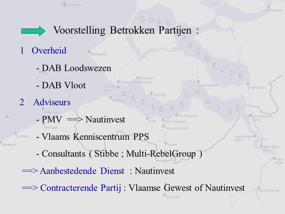 Voorstelling Betrokken Partijen : 1 Overheid - DAB Loodswezen - DAB Vloot 2 Adviseurs - PMV ==> Nautinvest - Vlaams Kenniscentrum PPS - Consultants ( Stibbe ; Multi-RebelGroup ) ==> Aanbestedende Dienst : Nautinvest ==> Contracterende Partij : Vlaamse Gewest of Nautinvest