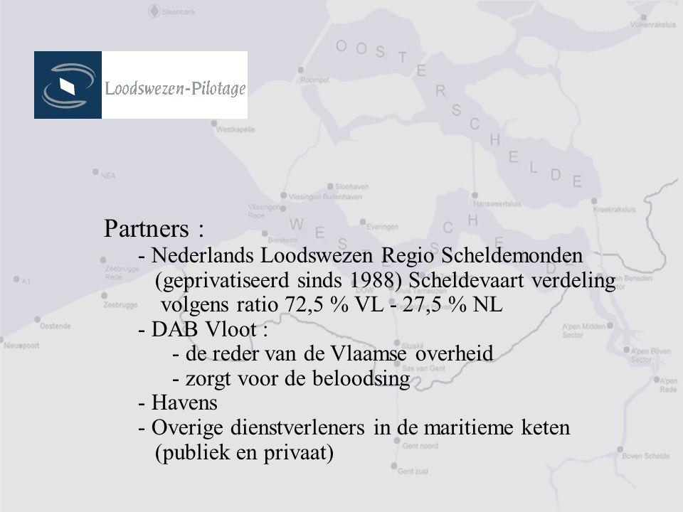 Partners : - Nederlands Loodswezen Regio Scheldemonden (geprivatiseerd sinds 1988) Scheldevaart verdeling volgens ratio 72,5 % VL - 27,5 % NL - DAB Vloot : - de reder van de Vlaamse overheid - zorgt voor de beloodsing - Havens - Overige dienstverleners in de maritieme keten (publiek en privaat)