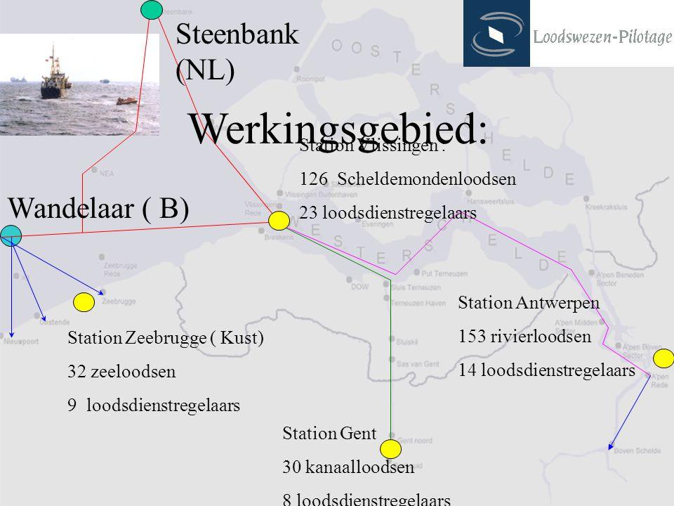 Station Zeebrugge ( Kust) 32 zeeloodsen 9 loodsdienstregelaars Station Vlissingen : 126 Scheldemondenloodsen 23 loodsdienstregelaars Station Gent 30 k