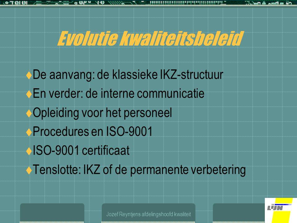 Jozef Reyntjens afdelingshoofd kwaliteit Evolutie kwaliteitsbeleid  De aanvang: de klassieke IKZ-structuur  En verder: de interne communicatie  Opleiding voor het personeel  Procedures en ISO-9001  ISO-9001 certificaat  Tenslotte: IKZ of de permanente verbetering