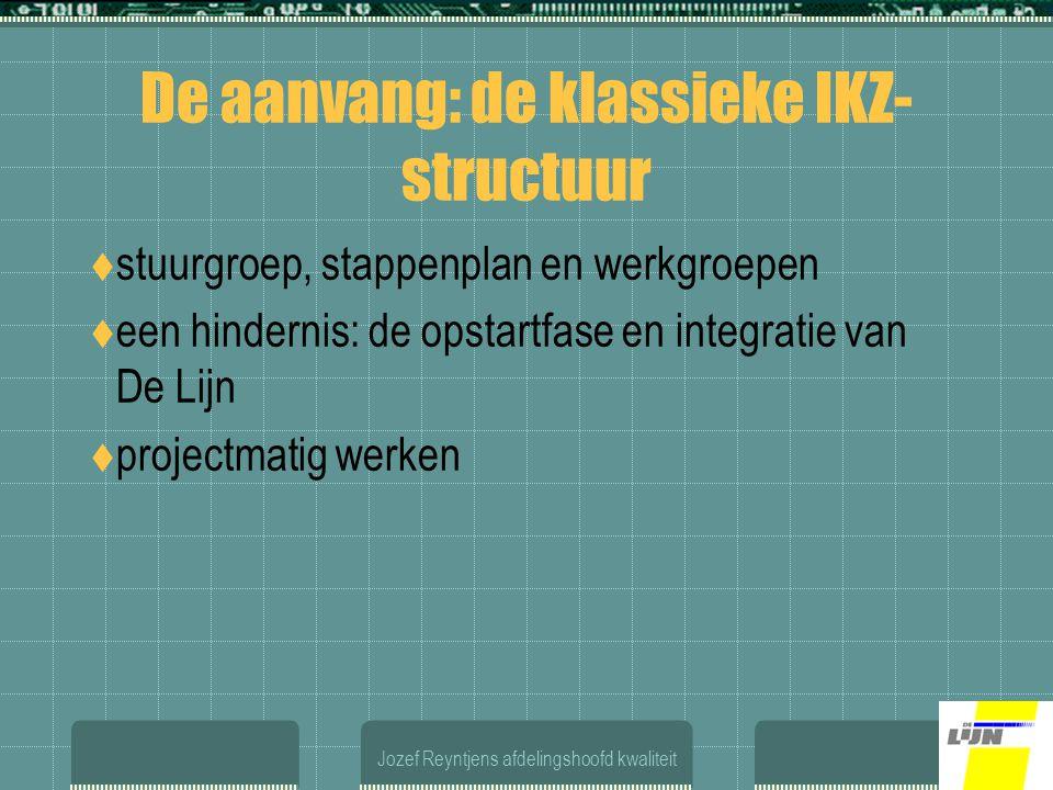 Jozef Reyntjens afdelingshoofd kwaliteit De aanvang: de klassieke IKZ- structuur  stuurgroep, stappenplan en werkgroepen  een hindernis: de opstartfase en integratie van De Lijn  projectmatig werken
