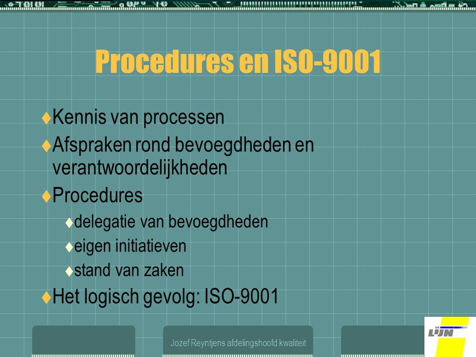 Jozef Reyntjens afdelingshoofd kwaliteit Procedures en ISO-9001  Kennis van processen  Afspraken rond bevoegdheden en verantwoordelijkheden  Procedures  delegatie van bevoegdheden  eigen initiatieven  stand van zaken  Het logisch gevolg: ISO-9001