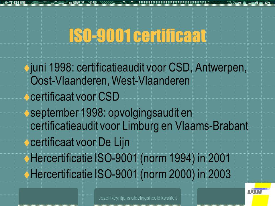 Jozef Reyntjens afdelingshoofd kwaliteit ISO-9001 certificaat  juni 1998: certificatieaudit voor CSD, Antwerpen, Oost-Vlaanderen, West-Vlaanderen  certificaat voor CSD  september 1998: opvolgingsaudit en certificatieaudit voor Limburg en Vlaams-Brabant  certificaat voor De Lijn  Hercertificatie ISO-9001 (norm 1994) in 2001  Hercertificatie ISO-9001 (norm 2000) in 2003