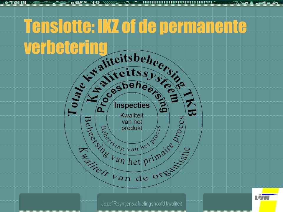Jozef Reyntjens afdelingshoofd kwaliteit Tenslotte: IKZ of de permanente verbetering