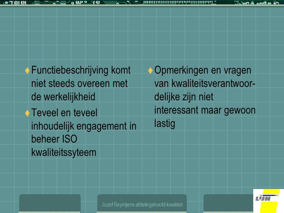 Jozef Reyntjens afdelingshoofd kwaliteit  Functiebeschrijving komt niet steeds overeen met de werkelijkheid  Teveel en teveel inhoudelijk engagement in beheer ISO kwaliteitssyteem  Opmerkingen en vragen van kwaliteitsverantwoor- delijke zijn niet interessant maar gewoon lastig