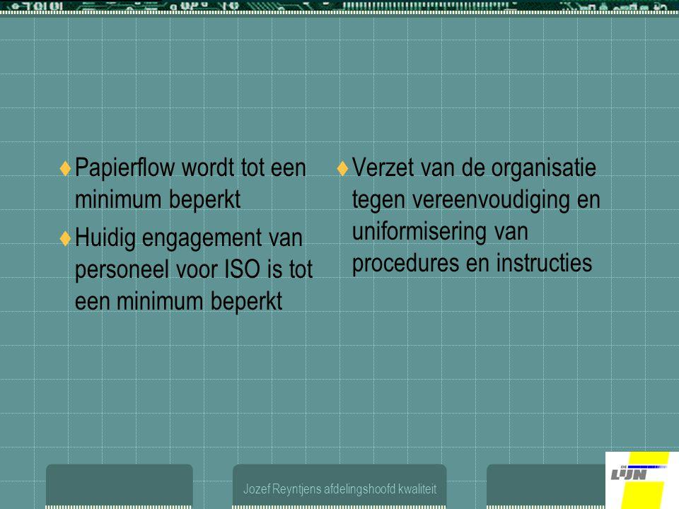 Jozef Reyntjens afdelingshoofd kwaliteit  Papierflow wordt tot een minimum beperkt  Huidig engagement van personeel voor ISO is tot een minimum beperkt  Verzet van de organisatie tegen vereenvoudiging en uniformisering van procedures en instructies