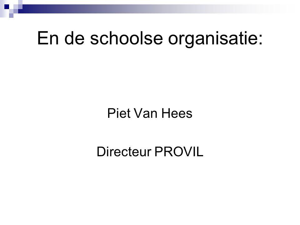 En de schoolse organisatie: Piet Van Hees Directeur PROVIL