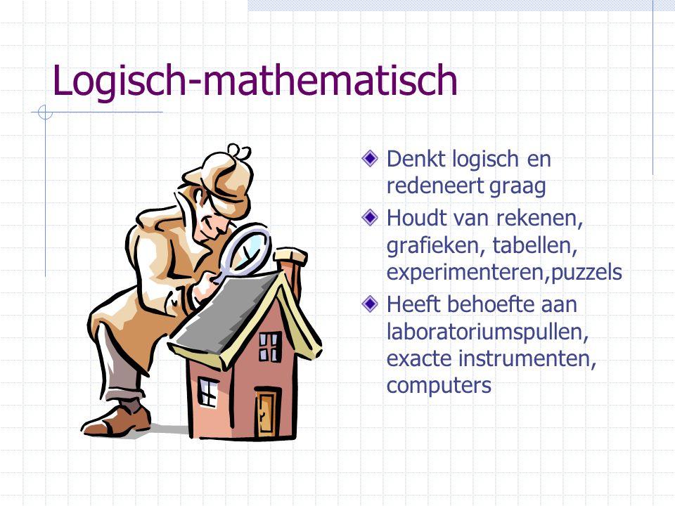 Logisch-mathematisch Denkt logisch en redeneert graag Houdt van rekenen, grafieken, tabellen, experimenteren,puzzels Heeft behoefte aan laboratoriumspullen, exacte instrumenten, computers