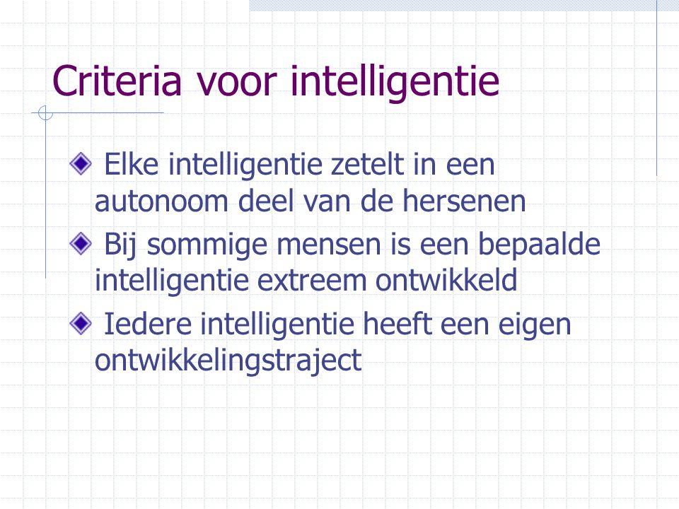 Criteria voor intelligentie Elke intelligentie zetelt in een autonoom deel van de hersenen Bij sommige mensen is een bepaalde intelligentie extreem ontwikkeld Iedere intelligentie heeft een eigen ontwikkelingstraject