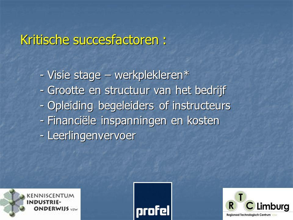 Kritische succesfactoren : - Visie stage – werkplekleren* - Grootte en structuur van het bedrijf - Opleiding begeleiders of instructeurs - Financiële inspanningen en kosten - Leerlingenvervoer