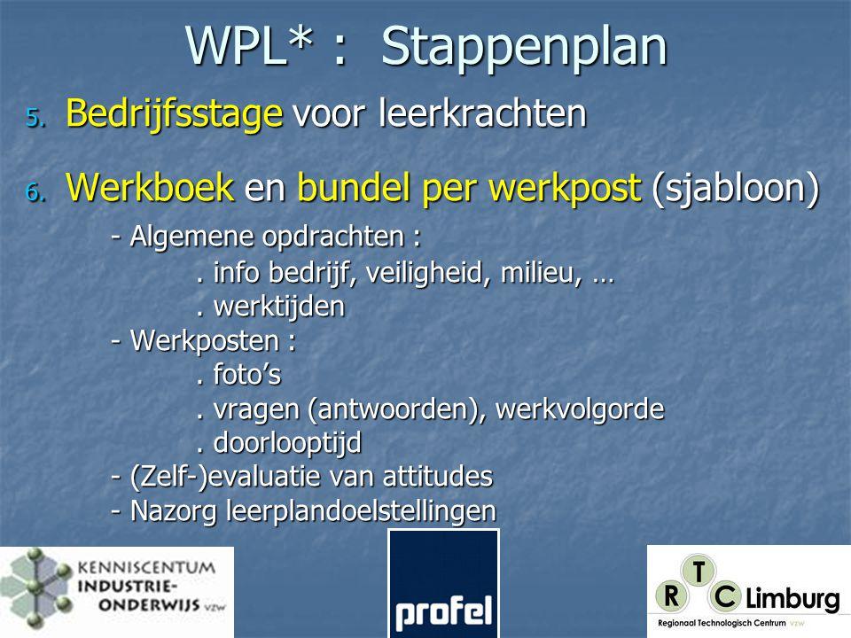 WPL* : Stappenplan 5. Bedrijfsstage voor leerkrachten 6.
