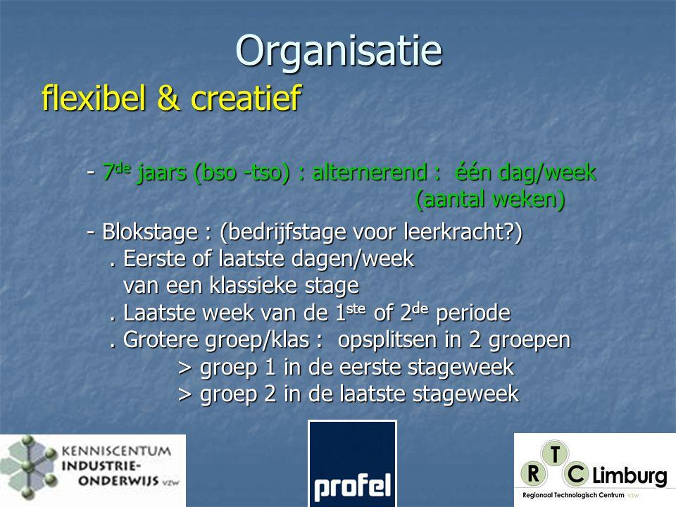 Organisatie flexibel & creatief - 7 de jaars (bso -tso) : alternerend : één dag/week (aantal weken) - Blokstage : (bedrijfstage voor leerkracht ).