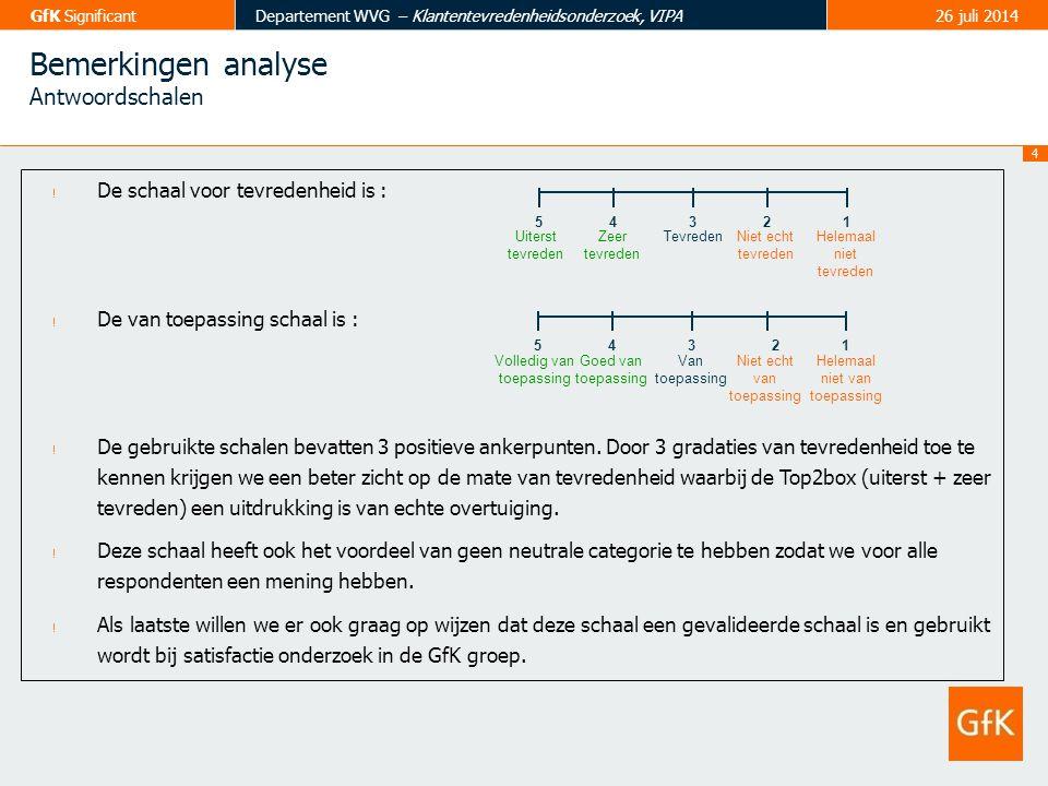 4 GfK SignificantDepartement WVG – Klantentevredenheidsonderzoek, VIPA26 juli 2014 Bemerkingen analyse Antwoordschalen ! De schaal voor tevredenheid i