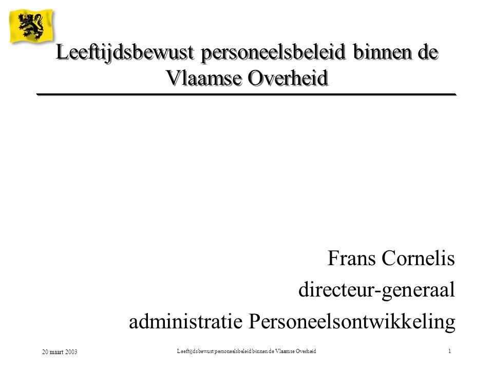 20 maart 2003 Leeftijdsbewust personeelsbeleid binnen de Vlaamse Overheid2  Voorstelling Vlaamse Overheid  Specifieke eindeloopbaanmaatregelen  Lopende projecten binnen MVG  Kritische factoren  Uitdagingen voor de toekomst