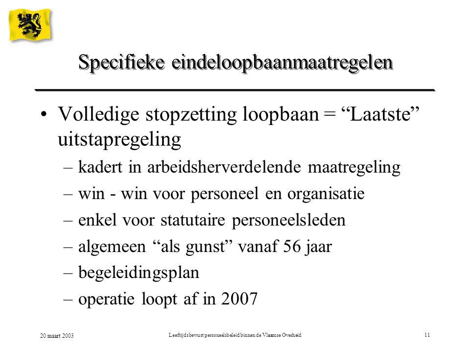 20 maart 2003 Leeftijdsbewust personeelsbeleid binnen de Vlaamse Overheid11 Volledige stopzetting loopbaan = Laatste uitstapregeling –kadert in arbeidsherverdelende maatregeling –win - win voor personeel en organisatie –enkel voor statutaire personeelsleden –algemeen als gunst vanaf 56 jaar –begeleidingsplan –operatie loopt af in 2007 Specifieke eindeloopbaanmaatregelen
