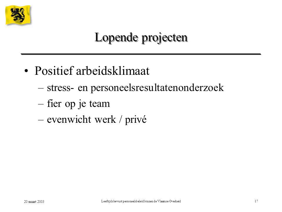 20 maart 2003 Leeftijdsbewust personeelsbeleid binnen de Vlaamse Overheid17 Positief arbeidsklimaat –stress- en personeelsresultatenonderzoek –fier op je team –evenwicht werk / privé Lopende projecten