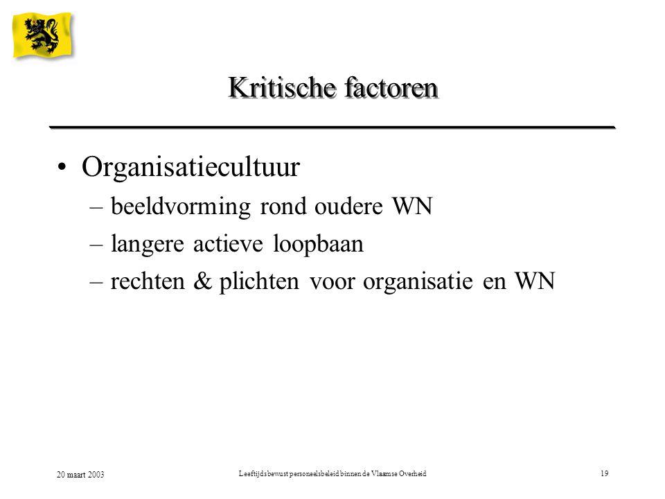 20 maart 2003 Leeftijdsbewust personeelsbeleid binnen de Vlaamse Overheid19 Kritische factoren Organisatiecultuur –beeldvorming rond oudere WN –langer