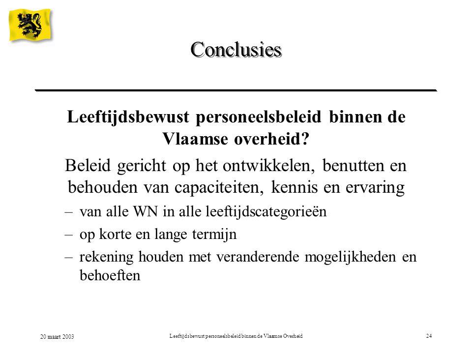 20 maart 2003 Leeftijdsbewust personeelsbeleid binnen de Vlaamse Overheid24 Conclusies Leeftijdsbewust personeelsbeleid binnen de Vlaamse overheid? Be