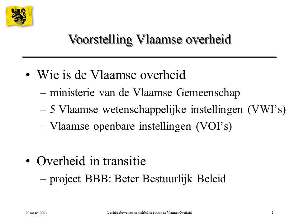 20 maart 2003 Leeftijdsbewust personeelsbeleid binnen de Vlaamse Overheid3 Voorstelling Vlaamse overheid Wie is de Vlaamse overheid –ministerie van de Vlaamse Gemeenschap –5 Vlaamse wetenschappelijke instellingen (VWI's) –Vlaamse openbare instellingen (VOI's) Overheid in transitie –project BBB: Beter Bestuurlijk Beleid