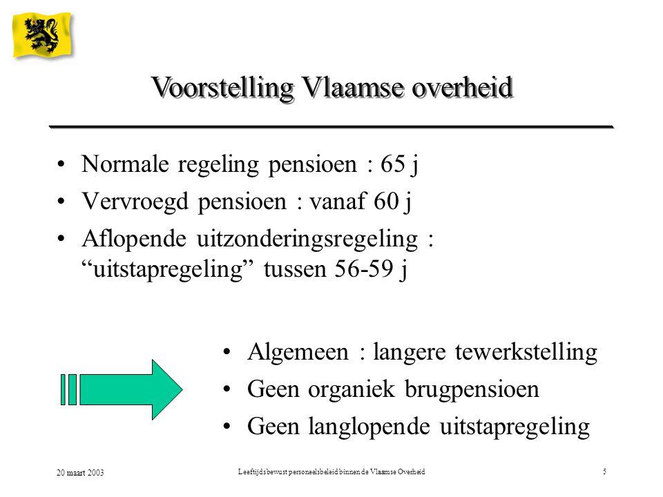 20 maart 2003 Leeftijdsbewust personeelsbeleid binnen de Vlaamse Overheid5 Voorstelling Vlaamse overheid Normale regeling pensioen : 65 j Vervroegd pe