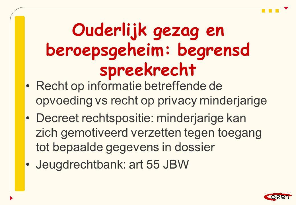 Ouderlijk gezag en beroepsgeheim: begrensd spreekrecht Recht op informatie betreffende de opvoeding vs recht op privacy minderjarige Decreet rechtspos