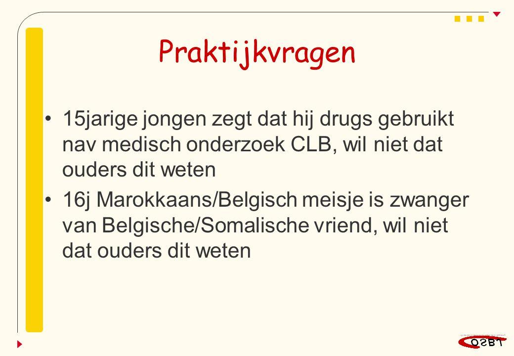 Praktijkvragen 15jarige jongen zegt dat hij drugs gebruikt nav medisch onderzoek CLB, wil niet dat ouders dit weten 16j Marokkaans/Belgisch meisje is