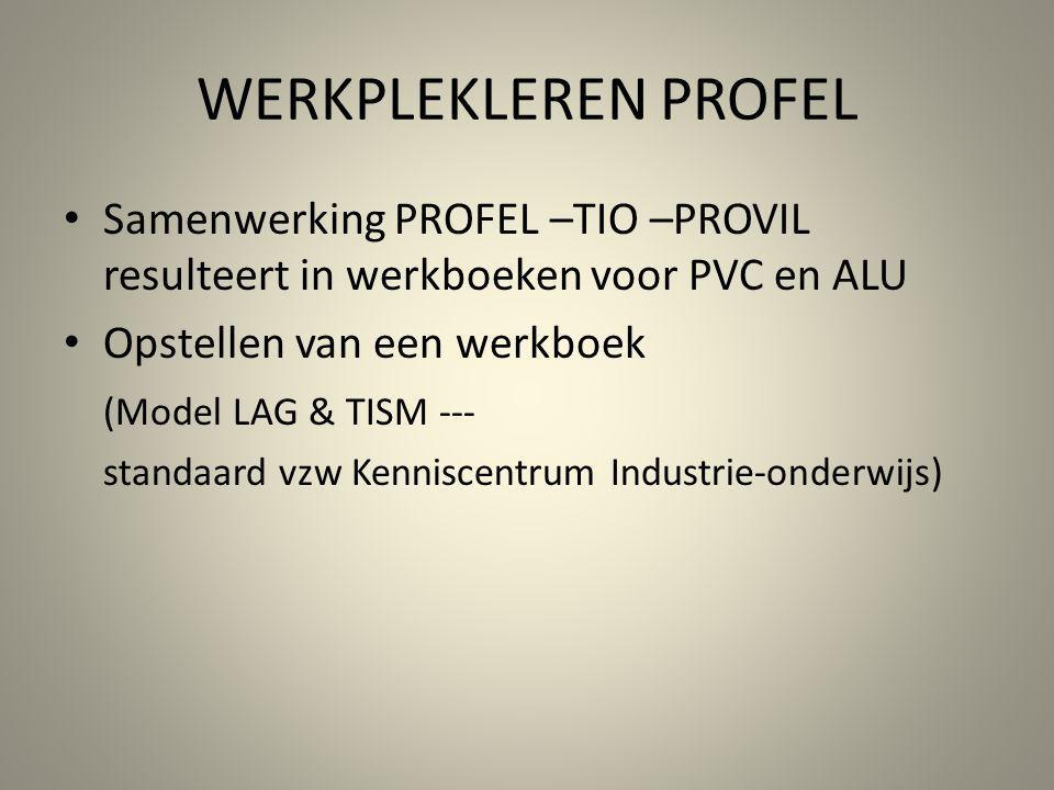 WERKPLEKLEREN PROFEL Samenwerking PROFEL –TIO –PROVIL resulteert in werkboeken voor PVC en ALU Opstellen van een werkboek (Model LAG & TISM --- standa