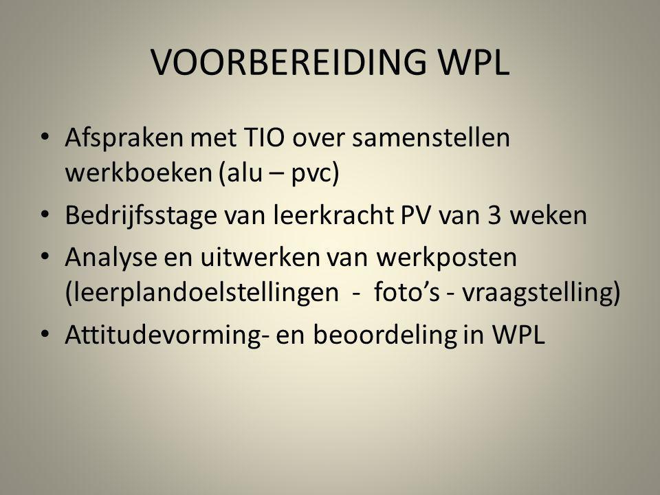 VOORBEREIDING WPL Afspraken met TIO over samenstellen werkboeken (alu – pvc) Bedrijfsstage van leerkracht PV van 3 weken Analyse en uitwerken van werk