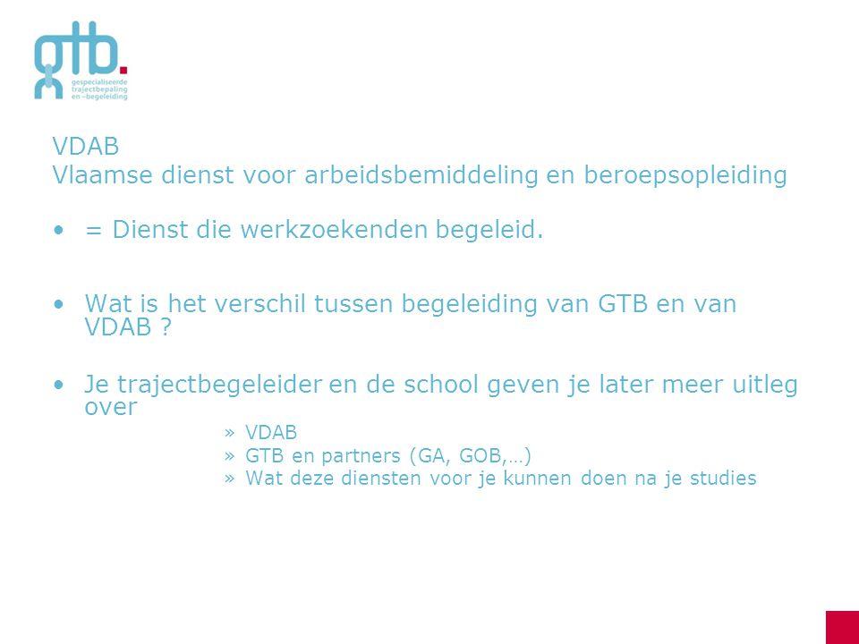 VDAB Vlaamse dienst voor arbeidsbemiddeling en beroepsopleiding = Dienst die werkzoekenden begeleid.