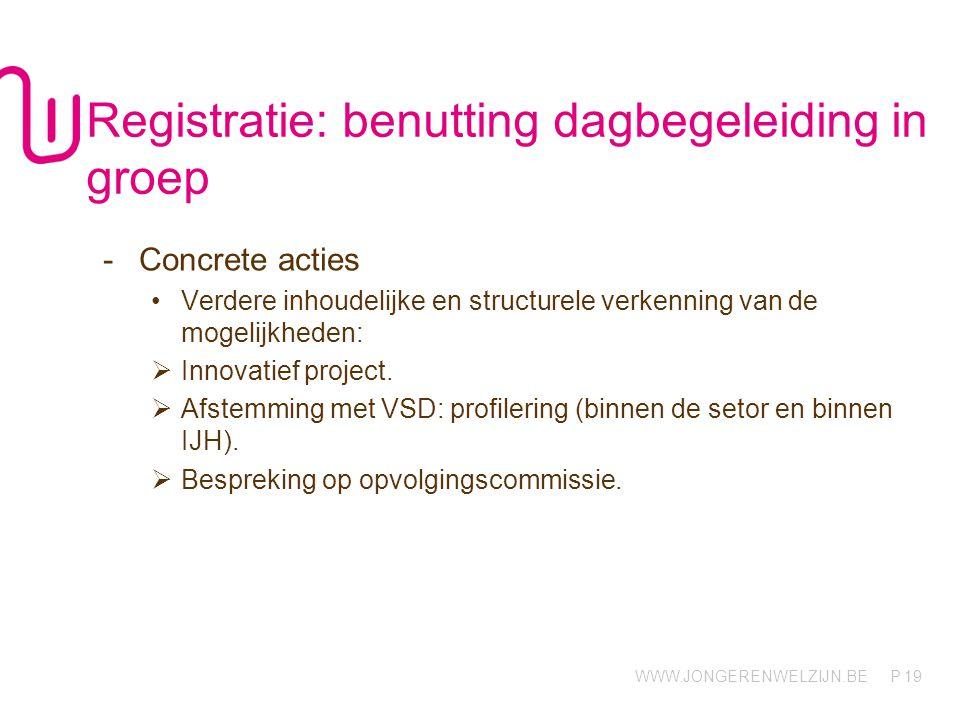 WWW.JONGERENWELZIJN.BE P 19 Registratie: benutting dagbegeleiding in groep -Concrete acties Verdere inhoudelijke en structurele verkenning van de mogelijkheden:  Innovatief project.