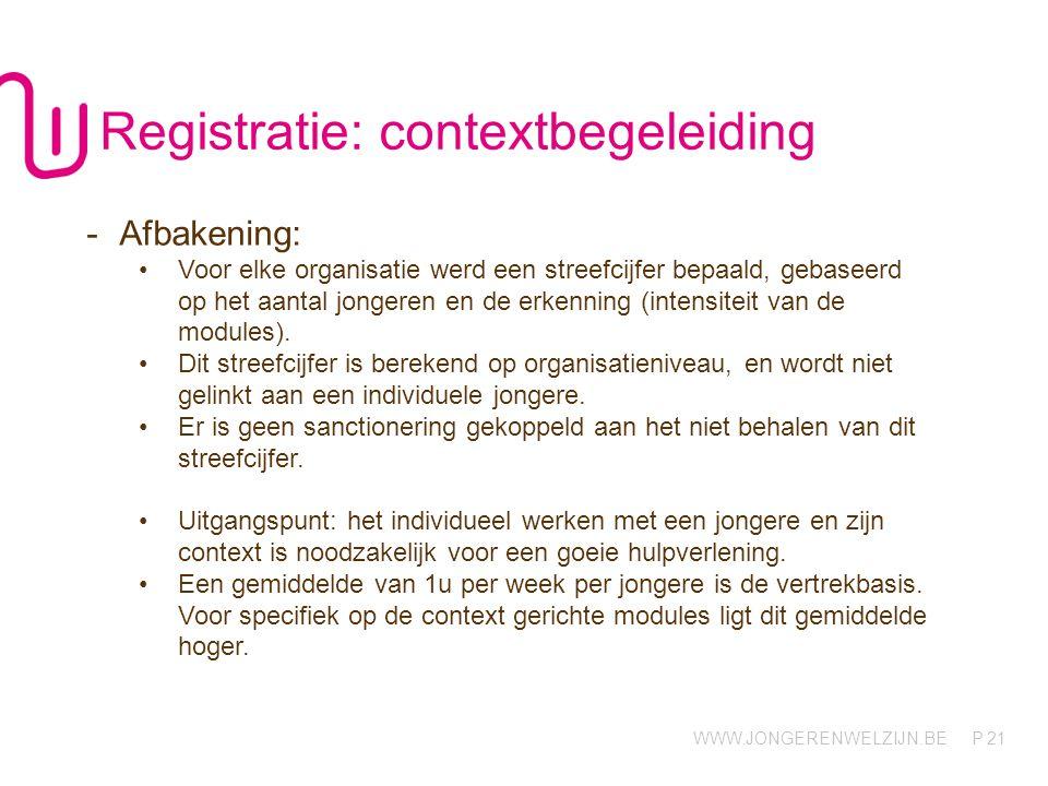 WWW.JONGERENWELZIJN.BE P 21 Registratie: contextbegeleiding -Afbakening: Voor elke organisatie werd een streefcijfer bepaald, gebaseerd op het aantal jongeren en de erkenning (intensiteit van de modules).