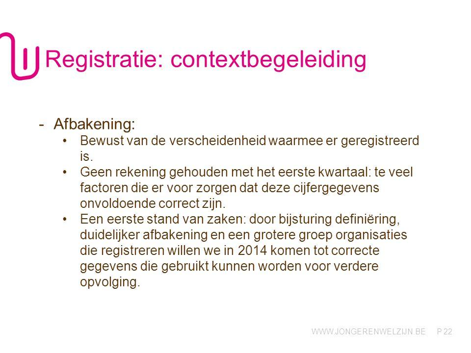 WWW.JONGERENWELZIJN.BE P 22 Registratie: contextbegeleiding -Afbakening: Bewust van de verscheidenheid waarmee er geregistreerd is. Geen rekening geho