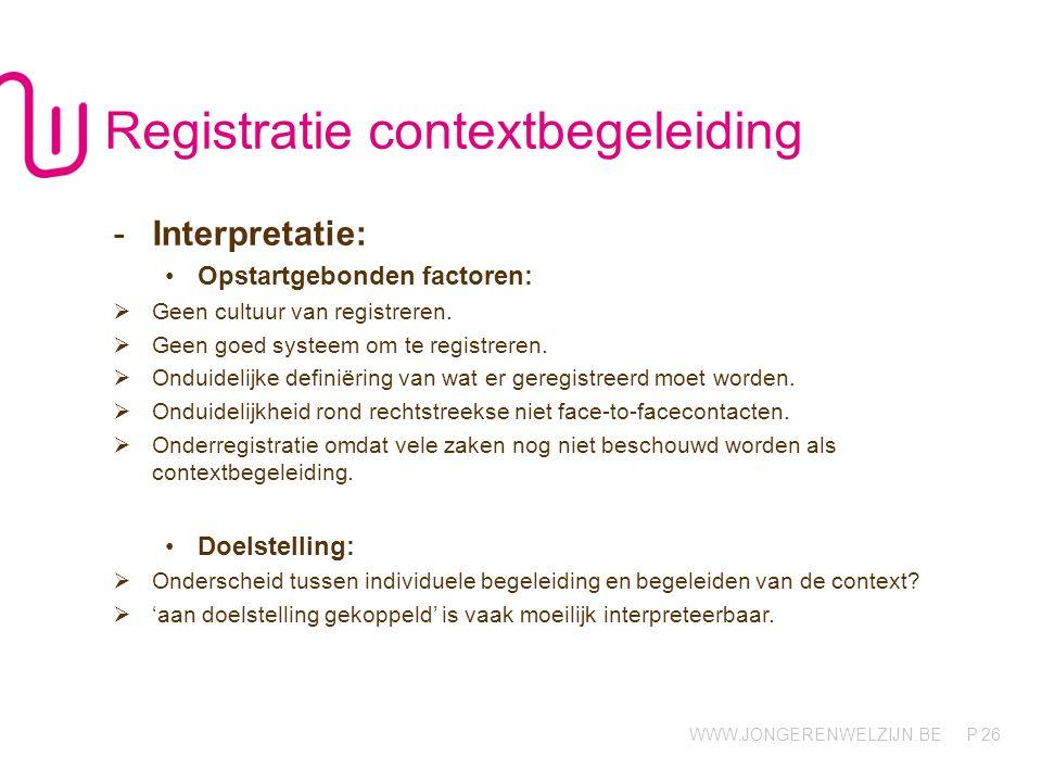 WWW.JONGERENWELZIJN.BE P 26 Registratie contextbegeleiding -Interpretatie: Opstartgebonden factoren:  Geen cultuur van registreren.  Geen goed syste