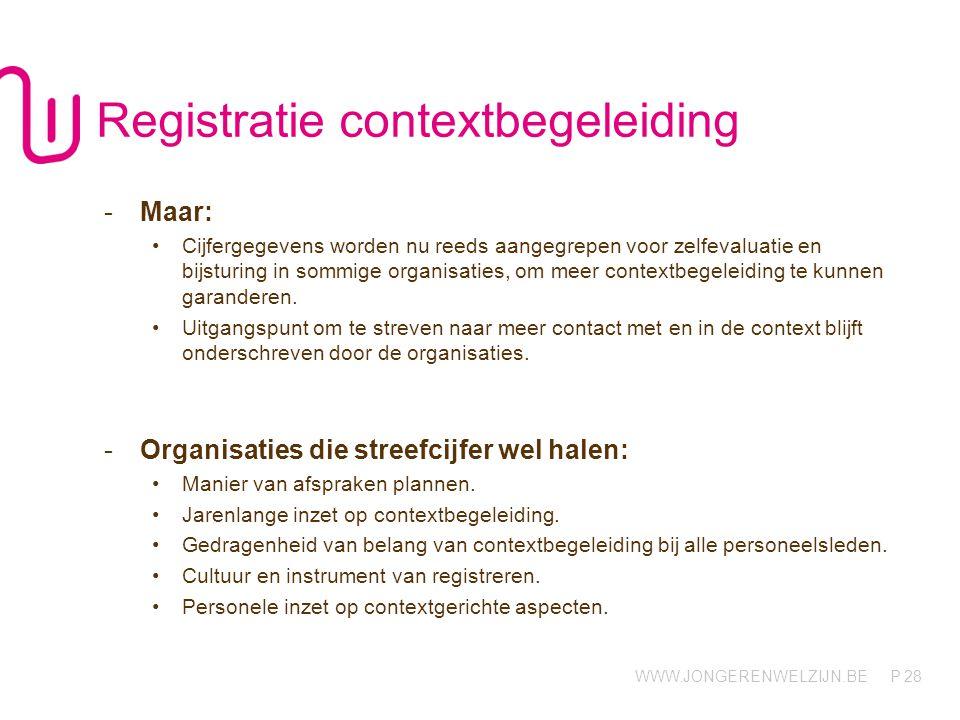 WWW.JONGERENWELZIJN.BE P 28 Registratie contextbegeleiding -Maar: Cijfergegevens worden nu reeds aangegrepen voor zelfevaluatie en bijsturing in sommige organisaties, om meer contextbegeleiding te kunnen garanderen.
