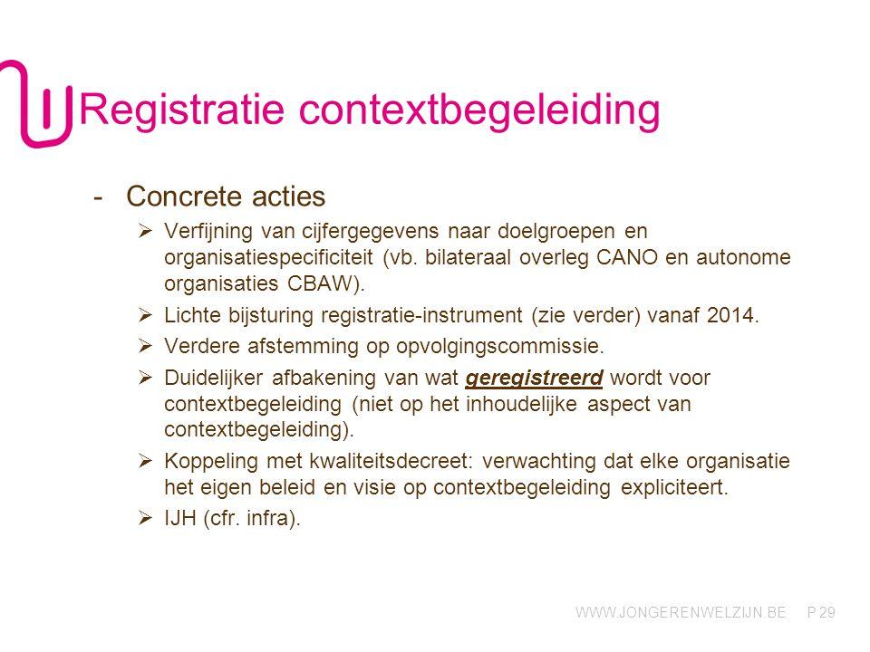 WWW.JONGERENWELZIJN.BE P 29 Registratie contextbegeleiding -Concrete acties  Verfijning van cijfergegevens naar doelgroepen en organisatiespecificiteit (vb.