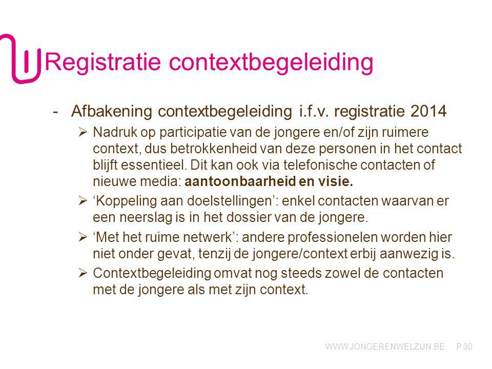 WWW.JONGERENWELZIJN.BE P 30 Registratie contextbegeleiding -Afbakening contextbegeleiding i.f.v. registratie 2014  Nadruk op participatie van de jong