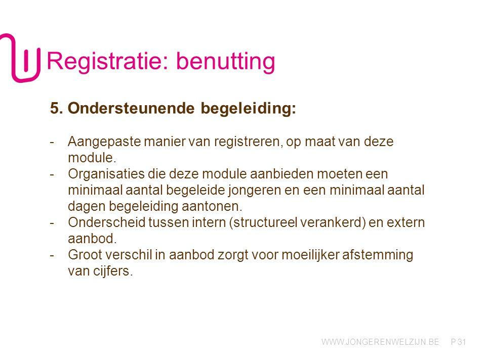 WWW.JONGERENWELZIJN.BE P 31 Registratie: benutting 5. Ondersteunende begeleiding: -Aangepaste manier van registreren, op maat van deze module. -Organi