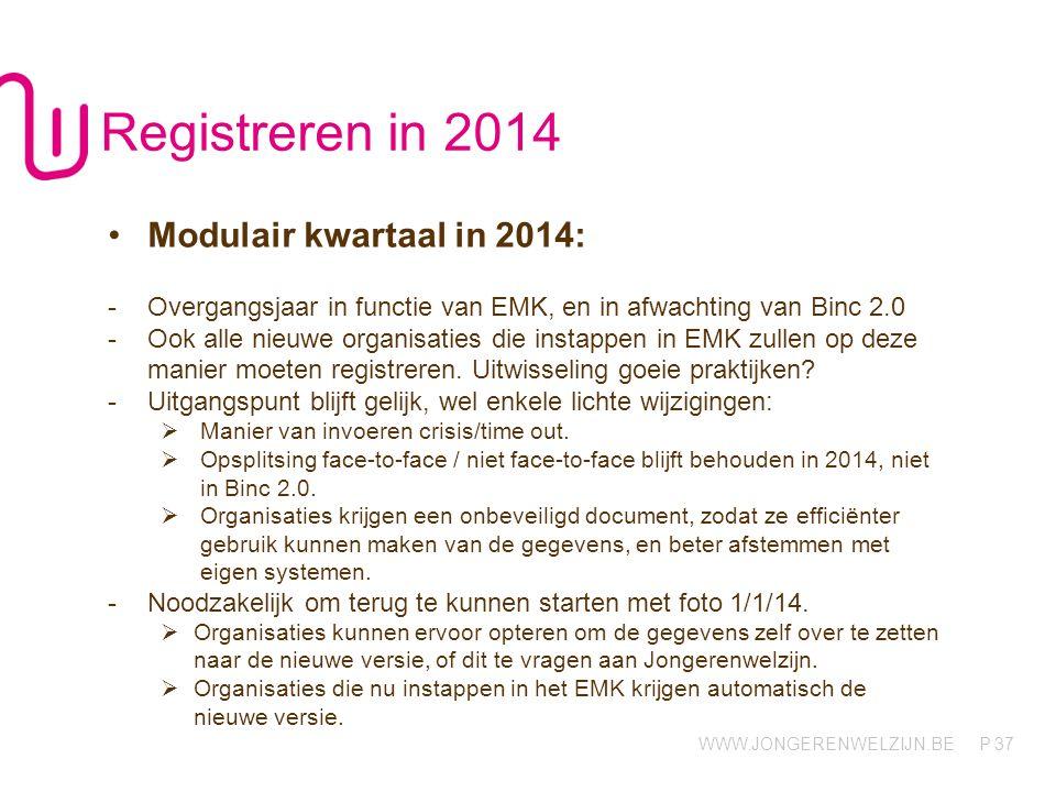 WWW.JONGERENWELZIJN.BE P 37 Registreren in 2014 Modulair kwartaal in 2014: -Overgangsjaar in functie van EMK, en in afwachting van Binc 2.0 -Ook alle nieuwe organisaties die instappen in EMK zullen op deze manier moeten registreren.