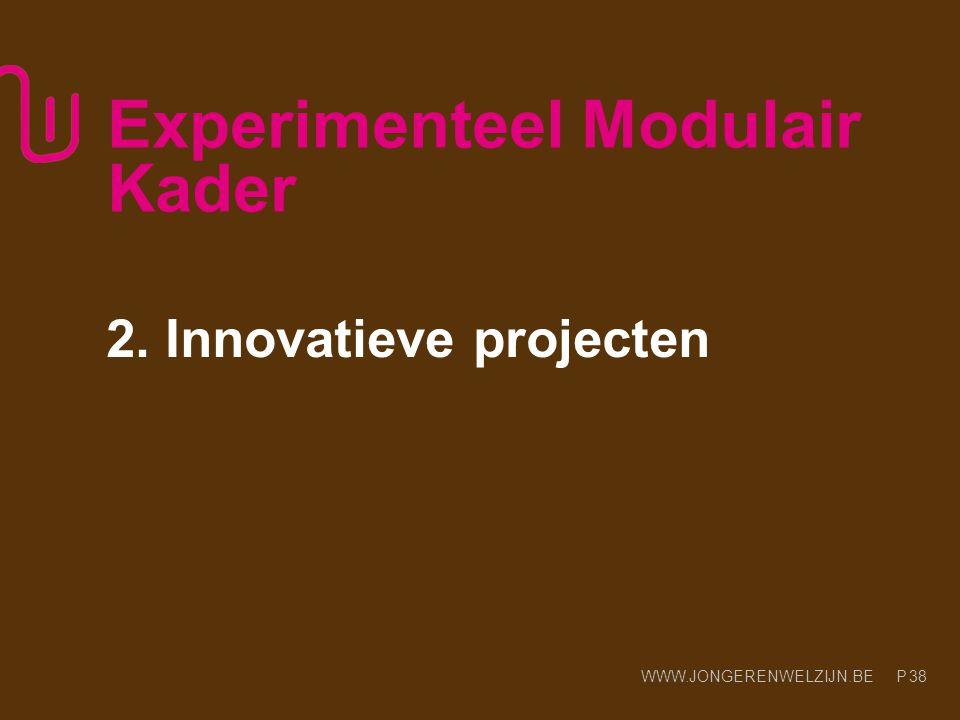 WWW.JONGERENWELZIJN.BE P Experimenteel Modulair Kader 2. Innovatieve projecten 38