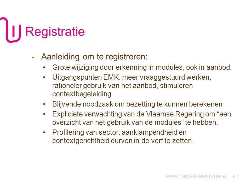 WWW.JONGERENWELZIJN.BE P 4 Registratie -Aanleiding om te registreren: Grote wijziging door erkenning in modules, ook in aanbod. Uitgangspunten EMK: me