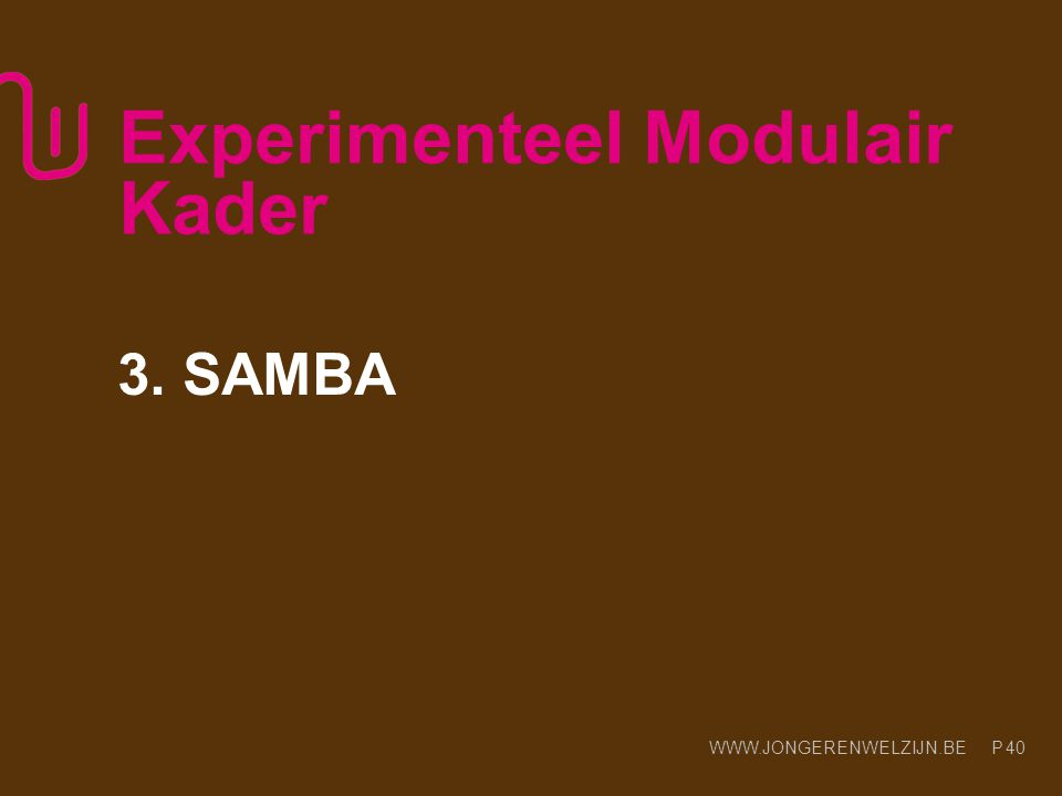 WWW.JONGERENWELZIJN.BE P Experimenteel Modulair Kader 3. SAMBA 40