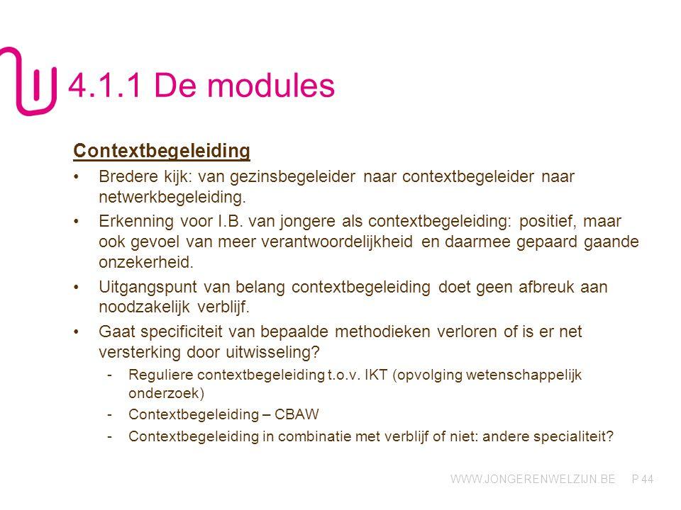 WWW.JONGERENWELZIJN.BE P 44 4.1.1 De modules Contextbegeleiding Bredere kijk: van gezinsbegeleider naar contextbegeleider naar netwerkbegeleiding.