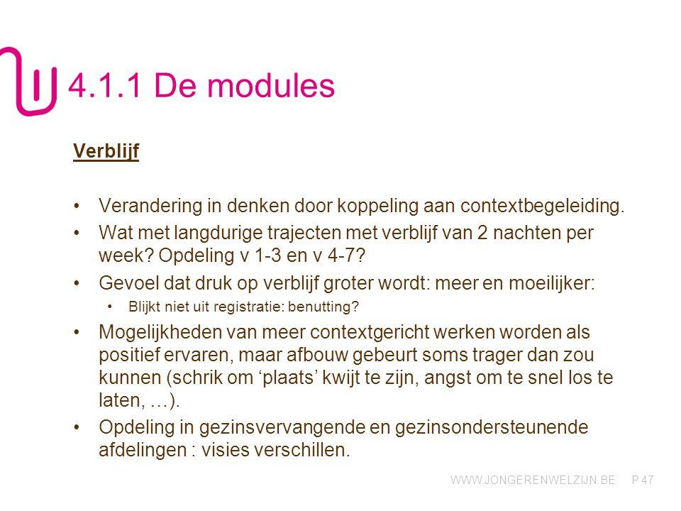 WWW.JONGERENWELZIJN.BE P 47 4.1.1 De modules Verblijf Verandering in denken door koppeling aan contextbegeleiding. Wat met langdurige trajecten met ve