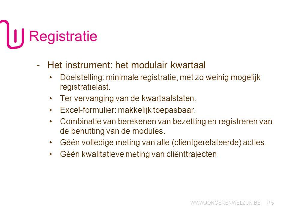 WWW.JONGERENWELZIJN.BE P 5 Registratie -Het instrument: het modulair kwartaal Doelstelling: minimale registratie, met zo weinig mogelijk registratiela