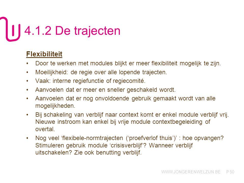 WWW.JONGERENWELZIJN.BE P 50 4.1.2 De trajecten Flexibiliteit Door te werken met modules blijkt er meer flexibiliteit mogelijk te zijn. Moeilijkheid: d
